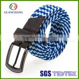 China wholesale cuatomize fashionable handmade high quality cotton braided elastic stretch belt with alloy buckle for men