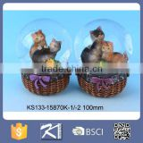 Lovely Cat animal waterball resin water globe