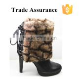 Hot selling fur collar ladies warm black snow boots cheap