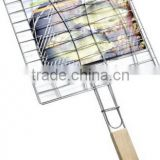 Wood Handle Square Double holder BBQ Grill Grates Wire Mesh 22.5x22.5cm