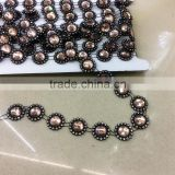 sew-on brown octagon glass Beaded On Black Base Rhinestone Applique Banding Diamond chain