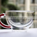 Heat-resistant double wall 180ml/6.3oz crystal tea or coffee cup set with red color crystals in the handle