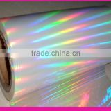 BOPP Rainbow transparent holographic lamination film, holographic rainbow film with ZNS metallize