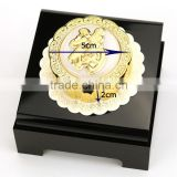 Pure Gold Mooncake statue with Chinses lucky Word Fu and Acrylic Display Box