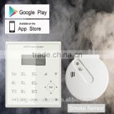 Latin ABC input Android+IOS APP application gsm smoke detector alarm with smoke+heat sensor