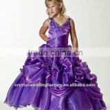 Best selling V-neckline beaded appliqued ruched ball gown grape flower custom-made girls pageant dresses CWFaf4880