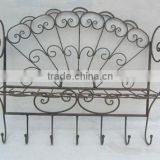 XY11198 scroll work antique shabby chic home wall mounted rack, bathroom metal wall shelf with 7 coat hooks