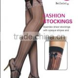 Spandex Sheer Black Stockings With Opaque Strips And Satin Bow