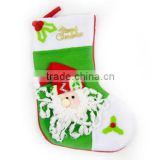 Fabric Beard Father Christmas Long Stocking Green Gift Bag