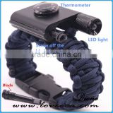 LED light paracord bracelet for outdoor camping survival bracelet with thermometer/firestarter buckle/flashlight
