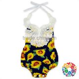 Sunflower Designs Baby Girls Bubble Romper Clothes Knit Cotton Rompers With 3 Plastic Snaps On The Bottom Easy To Change Diapers