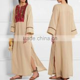 Beige Airy Cotton Embroidered Kurta Fornt neck Designs Ladies Kurta Long Sleeve Maxi dress With Embroidery HSD5917