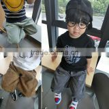 new model baby bottoms black color with 'sky' letters plain dyed long style kids harem pants