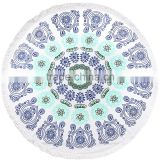 white blank Large Round beach towel with fringe Australia Popular 100% Cotton Round Beach Towel Softextile