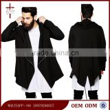 Hooded cardigan with waterfall front and fishtail custom high quality hoodie for men