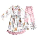CH00310YIWU BOYA Cotton milk silk ruffle dress kids clothes angels prints wearing boutique dress