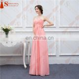 Long Bridesmaid Dresses Coral Chiffon Sweetheart Cheap Brides Maid Dress Real Photo Free Shipping