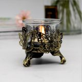 Antique Brush Gold metal hollow Candle holder with butterfly /rose design and tealight cup
