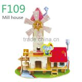 DIY Prefabricated Cheap Wood Doll House 3D Toys Educational Games