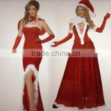 2015 New arriving Complete Costume velvet adult sexy warm christmas costume christmas party suits
