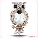High quality fashion alloy rhinestone and glass owl brooch for beautiful women