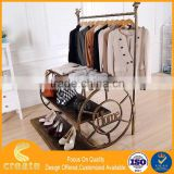 Metal Iron wholesale clothing/garment store shop fitting display clothes racks shelves