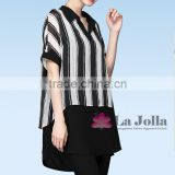 Lastest Summer Fashion White Black Stripes Short Sleeves False Two-piece Chiffon T-shirt 100