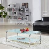 Living room RB-1402 Modern white stoving varnish rectangular tempered glass coffee table with stainless steel tea table