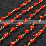 $4/meter by Trade Assurance- Stone faceted red agate beaded chain 5.5mm rosary chains-Free shipping