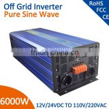 solar system pure sine wave power inverter 24v 240v 6000w with/without charger(optional)