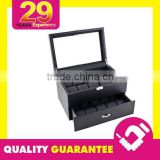 Black Carbon Steel Watch Box Display Storage Case - Display Box