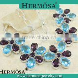 Hermosa Jewelry HOT SALE ITEMS 925 Sterling Silver Trendy Blue Topaz Stone Necklace Jewelry Wholesale Price