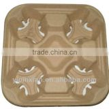 Custom Sugarcane Bagasse Molded Fiber Coffee Cup Trays,Cup Holder Pulp Paper