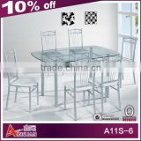 A11S-6 Hot sale glass top rotating dining table extendable