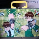 Beautiful cartoon tin box with plastic handle and one mini lock