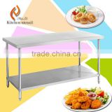 HL01 retail or wholesale 304 stainlesss steel kitchen workbench work table with undershelf prep catering hard frame worktable