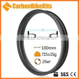 Fashion Cheapest CarbonBikeKits 26er 100 mm wide carbon rims carbon rim for fat bike Tubeless Bead Hook FB100-B