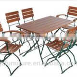 BEER GARDEN/BISTRO SET, RECTANGLE TABLE 47.25 INS (120CM) X 27.6 INS (70CM) AND 6 CHAIRS (2 WITH ARMRESTS)