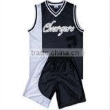 100% Polyester V-neck Heavyweight Dazzle Red and Black Basketball Uniform