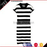 Black and white stripes in the summer of 2016 the new han edition cultivate one's morality short sleeve dress