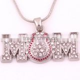 Mother's Day Gift Heirloom Finds Pave Crystal Pendant Baseball Softball Mom Necklace
