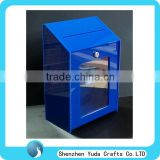 Blue Acrylic Suggestion Box, Lockable Ballot Box, Standing Acrylic Mailbox