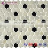 Hexagonal Marble Mosaic White and Black Stone Mosaic Bathroom Floor Tiles Kitchen Wall Tiles Living Room Background