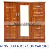 Kids Wardrobe Children Closet 3 Doors With Mirror Suitable For Home Bedroom With Drawers In Modern Design