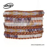 Wholesale Gemstone Jewellery Natural Stone Bead Bracelet Woven Leather Wrap Bracelet For Women