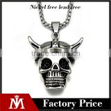 2016 Antique Unisex Charm Jewelry Skull Silver Halloween Pendant Necklace Stainless Steel Chain