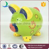 2015 Newest Ceramic Lovely Green decal piggy bank with coin counter
