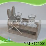 wooden rabbit decoration candle holder decoration for Christmas day