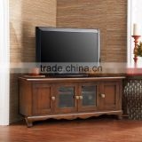 Tv Stand Corner Solid Teak Wood Mode Brown Color