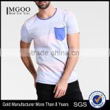 MGOO Manufacturer Offered Round Neck Blank Pocket T Shirt Wholesale Thick Striped T-shirt For Men